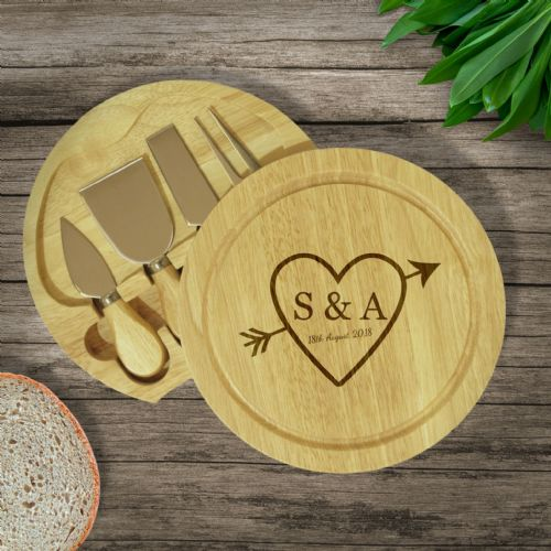 Personalised Sketch Heart Round Cheeseboard